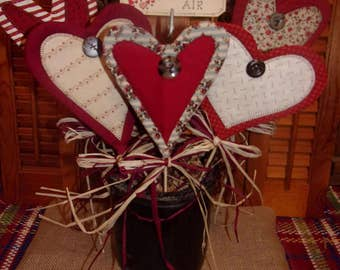 Primitive Country Layered Fabric Bouquet of VALENTINE HEARTS Crock Pokes Decorations Ornaments Ornies