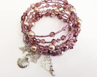 Personalized Multi Strand Bracelet, Wrap Boho Bracelet, Memory Wire Bracelet, Pink Spiral Gypsy Bracelet with pearls, beads and charms OOAK