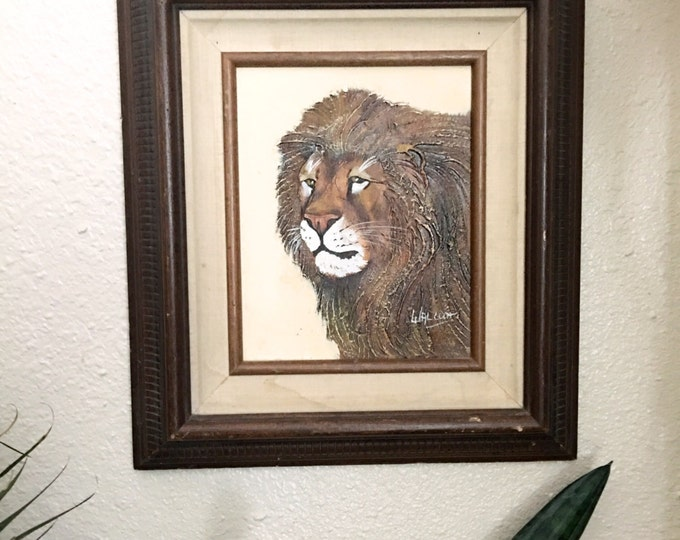 Amazing Vintage Lion Portrait Painting - Signed Framed Certified Original Art