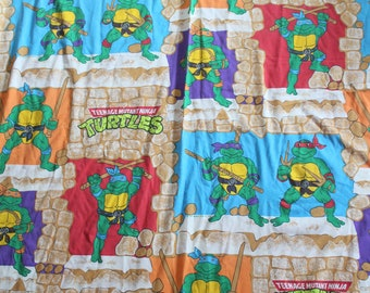 Vintage Teenage Mutant Ninja Turtles Twin Flat Sheet 1988