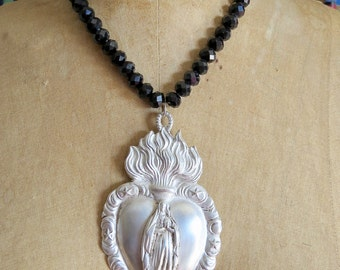 BLESSINGS- SACRED HEART Madonna  Pewter Ex vote Virgin Mary Necklace- Perfect for your holiday party