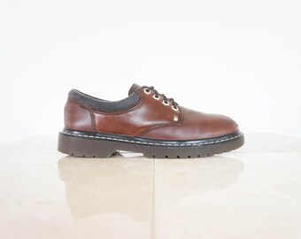 90s Chunky Brown Leather Derby Shoes / Women's Size 8 US - 38/39 Eur - 6 UK