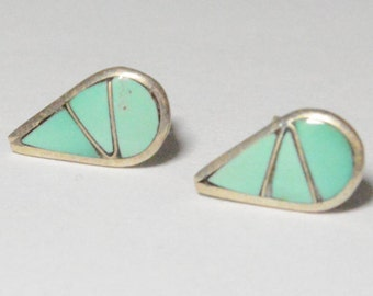 SALE Vintage Sterling Silver Turquoise Tear Drop Inlay Style Pierced Post Stud Earrings
