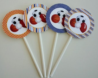 DIGITAL DOWNLOAD Sports Cupcake Toppers Tags Stickers Basketball Baseball Soccer Football Team