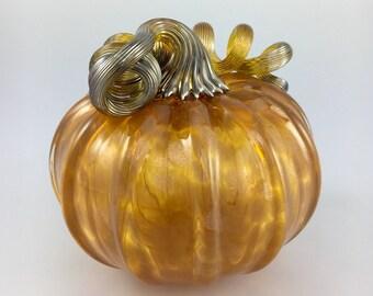 """4.5"""" Glass Pumpkin by Jonathan Winfisky - Rose Gold Gimmer Series- Saffron Orange - Hand Blown Glass"""