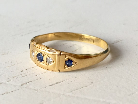 Diamond and Sapphire 18k Yellow Gold Engagement Ring- English Hallmarks