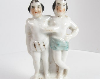 Antique Chang & Eng PT Barnum Figurine Siamese Twins Sideshow Freaks Rare Curiosity