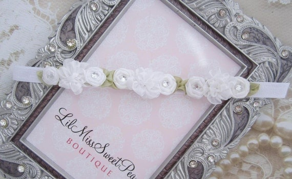White Mini Flower Halo Headband for newborn photo shoots, baby halo, Christening, new baby, shower gift, Baptism, by Lil Miss Sweet Pea