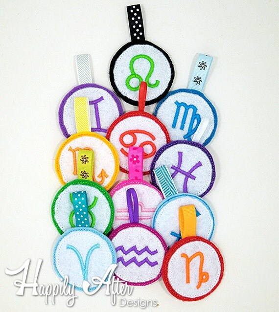 Astrology zodiac keychain embroidery designs