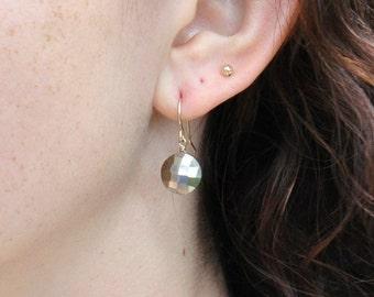 Pyrite Earrings, Golden stone Earrings, Minimum jewelry, everyday jewelry, Minimalist,  Gift For Her