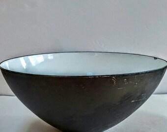 Vintage Enamel Bowl by Krenit, Denmark, Danish Modern, Medium, Black and White,Wedding Gift,Housewarming Gift