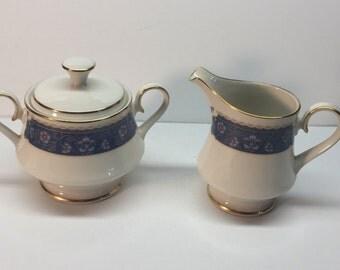 Vintage Carico Fine China Creamer and Lidded sugar bowl Renaissance 7951 Japan
