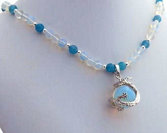 Opalite Apatite Dragon Handmade Designer Pendant Necklace