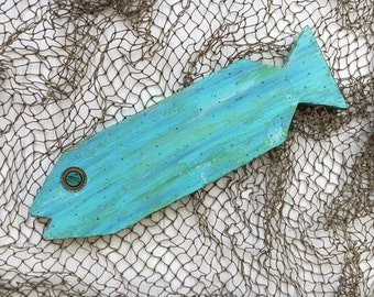 Folk Art Fish - Key West Decor - Wooden Fish - Nautical Decor - Sea Glass Colors