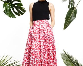 Long sickle cell skirt, red skirt, high waisted skirt