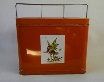 Orange Tin with Fairy, Lid and Handle, Colorful Bin, Beach Tote, Craft Carrier Toy Kitchen Playroom Storage Fall Holiday Decor