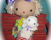 "Primitive Blonde Annie Ann Easter Raggedy Doll 15"" and Lamb Set OOAK Handmade"
