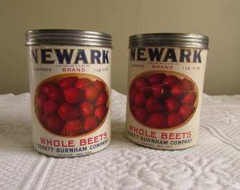 Vintage Vegetable Can Set/Two Tin Beets Containers/Paper Label Advertising/Blue Red Kitchen Display/Farmhouse Decor/Cottage Can Collectibles