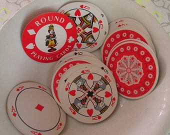 Vintage Novelty Round Playing Cards/Kitsch Deck of Cards/Original Case/Plastic Coated/Vacation Recreation/Family Game Cards/Retro Design