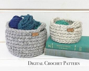PDF Crochet Pattern / Crochet Basket Pattern / Crochet Storage Basket with Handles / DIY Crochet Pattern / Crochet Gift Basket Pattern