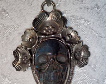 Skull Carved Gemstone Labradorite Face in Flowers .Tibetian Silver Pendant