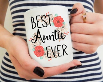 New Aunt Gift, Auntie Mug, Pretty Floral Mugs, Gifts for Sister, Aunt Coffee Mug Cup, Mug For Her, Unique Mugs, Mugs with Words, Auntie Gift