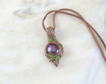 Mystical Woodland Fairy Pendant with Purple Glass Bead