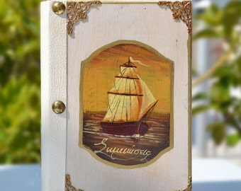 Note Book,Wooden book,Travel notebook,Marine décor,Old ship,Navy theme,Hand painted ship,Sea lovers,Ship Journal,Hancrafted notebook
