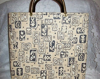 Vintage 1950s Tote Yarn, Knitting or Craft Bag Only 11 USD