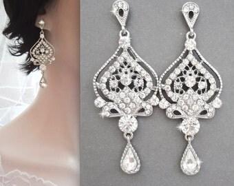 Chandelier earrings, Crystal chandelier earrings, Long chandelier earrings, Art deco, Brides earrings,Wedding earrings,Crystal earrings, MAE