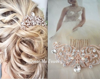 Rose gold hair comb ~ Brides hair comb ~ Teardrop rhinestone, hair accessories ~ Crystal hair comb ~ Hair Jewelry ~ Wedding accessories