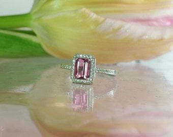 Pink Tourmaline Ring, PInk Tourmaline Silver Ring, Tourmaline Ring, Halo Ring, Emerald Cut Ring, Tourmaline Jewelry, Pink Tourmaline