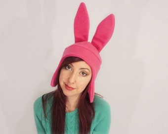 Pink Bunny Ear Fleece Hat, Halloween Cosplay, Louise, Christmas Gift, Costume Hat, Adult