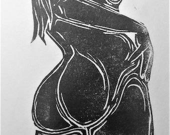 """inspiration erotique vintage linogravure imprimé à l'encre à l'huile  sur papier de riz """" Marthe"""""""