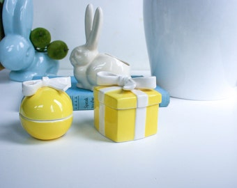 Vintage, Yellow Trinket Boxes, Fitz & Floyd, Egg Shape and Square Box