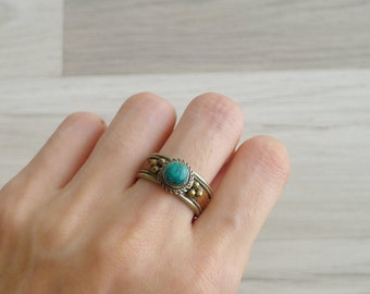 10-25% OFF Code In Shop - Vintage 70's Turquoise Hippie Silver Ring (Adjustable)