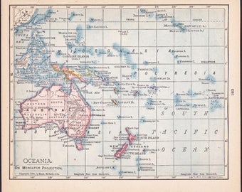 Small Australia Map of Oceania (Old Color Map, Antique Wall Decor Print, 1900s Wall Art) Nice Vintage Atlas Map No. 183-2