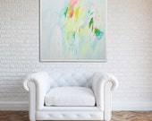 Wall art print Green and yellow large canvas large prints livingroom print bedroom art abstract print fresh beautiful by Duealberi