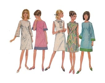 One Piece Dress Simplicity 7082 Size 12 Bust 32 A Line Dress / Flared Sleeve / Sleeveless / Contrast Border Vintage 1960s Sewing Pattern