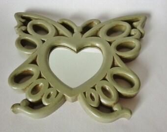 Butterfly Heart Mirrors Wall Decor Avocado Green