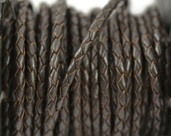 3mm Round Braided Bolo Leather - Dark Brown
