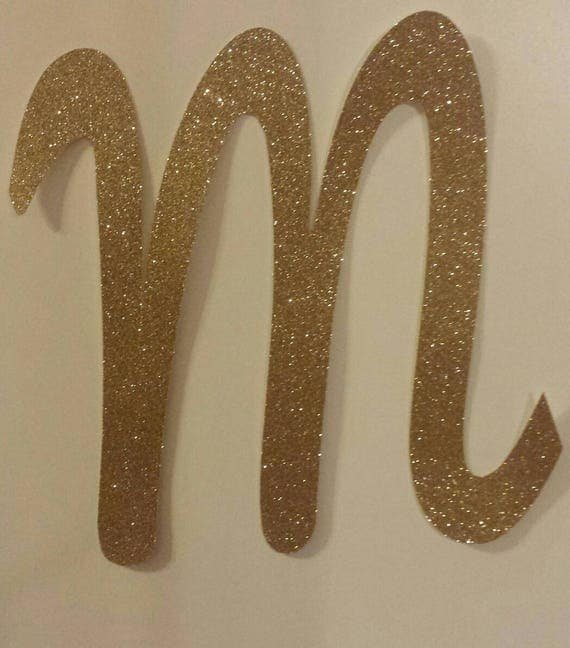 Gold glitter xlarge script letter die cut initial spell a name for Large letter die cuts