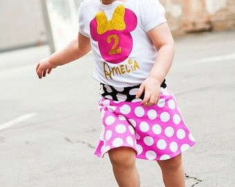 Glitter Minnie Mouse Girl Shirt, Custom Personalized Minnie Mouse Shirt Girls and Baby Girls, Birthday Number Minnie Mouse Shirt, 12m to 6