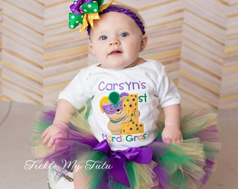 My First Mardi Gras Tutu Outfit-My First Mardi Gras Tutu Set-Baby's First Mardi Gras-Mardi Gras Birthday Outfit *Bow NOT Included*