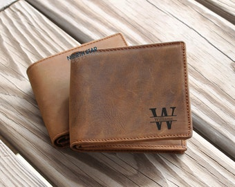 Mens Leather wallet, Mens Personalized, Personalized Leather BiFold Wallet, Cowhide Leather Wallets, Crazy Horse Leather, Custom Wallet