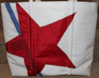 Recycled red star sail bag
