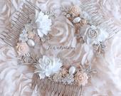 Hair Comb, Wedding, Hair Accessories, Bridal, Hair Pin, Silver, Blush, Pink, Pastel, Bride, Bridesmaids, Gift, Customisation, Personalized