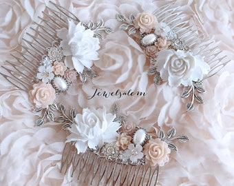 Hair Comb, Wedding, Hair Accessories, Bridal, Hair Pin, Silver, Blush, Pink, Pastel, Bride, Bridesmaids, Gift, Customisation, Personalized