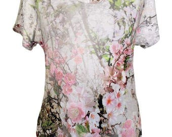 Floral Cotton Shirt, Summer Shirt, Plus Size Shirt, Designer Shirt, Women Shirt, Cherry Blossom, White and Pink Shirt