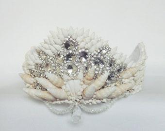 Mermaid shell crown,  silver diamanté crown,  shell headpiece